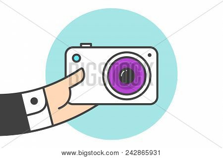 Icon Of Photo Camera In The Businessman Hand. White Camera In Line Graphic. Hand Of Businessman Hold