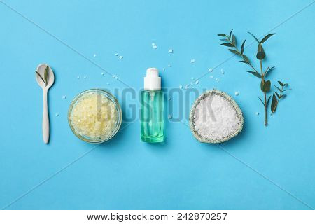Fresh Ingredients For Homemade Effective Acne Remedy On Color Background
