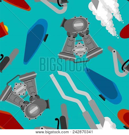 Bike Motorcycle Part Pattern Seamless. Engine Racing. Exhaust Pipe And Steering Wheel. Fuel Tank And