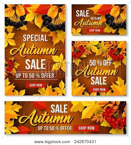 Autumn Sale Poster, Web Banner And Leaflet Templates For Seasonal Shopping Or Online Store Discount