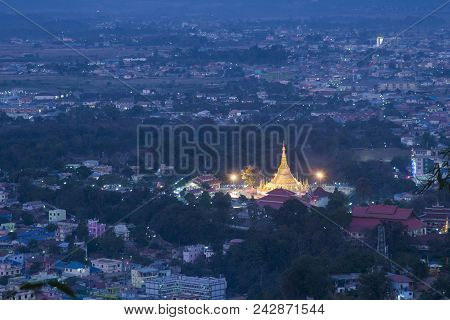 Tachileik Shwedagon Pagoda  In The Shan State Of Eastern Myanmar.tachileik Is Most Populated City In