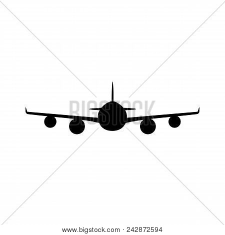 Passenger Plane Icon. Front View Of Jetliner