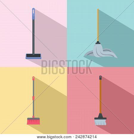 Mop Cleaning Swab Icons Set. Flat Illustration Of 4 Mop Cleaning Swab Vector Icons For Web