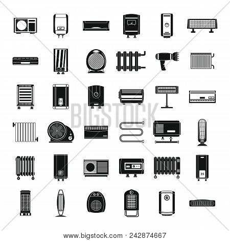Electric Heater Device Icons Set. Simple Illustration Of 36 Electric Heater Device Vector Icons For