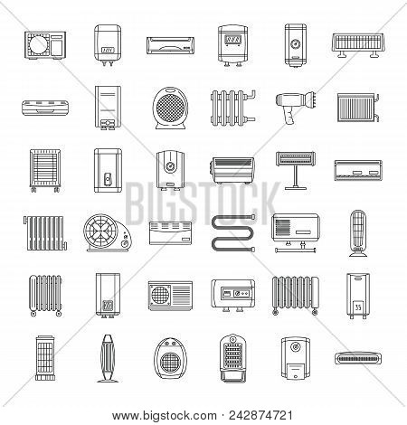 Electric Heater Device Icons Set. Outline Illustration Of 36 Electric Heater Device Vector Icons For
