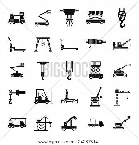 Lifting Machine Equipment Icons Set. Simple Illustration Of 25 Lifting Machine Equipment Cargo Vecto