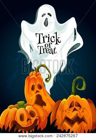 Halloween Trick Or Treat October Holiday Greeting Card Design Of Scary Pumpkin Lantern Monster And S