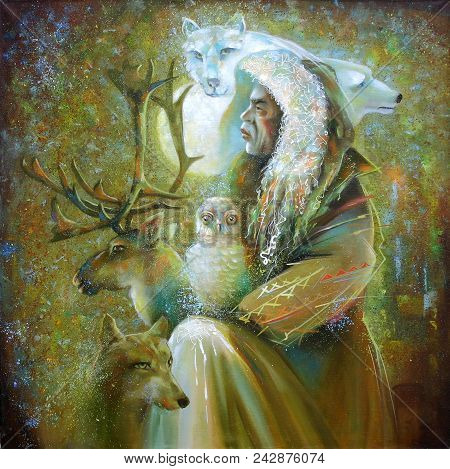 Artwork. Northern Shaman Is Surrounded By Animals. Author: Nikolay Sivenkov.