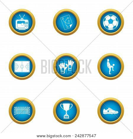 College Football Icons Set. Flat Set Of 9 College Football Vector Icons For Web Isolated On White Ba