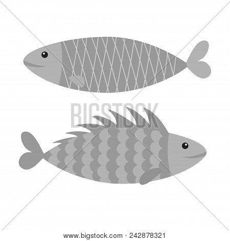 Fish Icon Set. Iwashi. Sardina Pilchardus. Cute Cartoon Character. Anchovy Pilchard. Water Animal. M