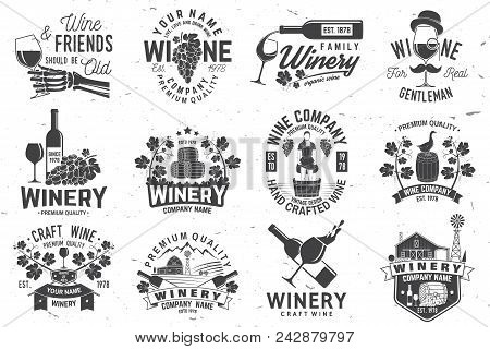 Set Of Wine Company Badge, Sign Or Label. Vector Illustration. Vintage Design For Winery Company, Ba
