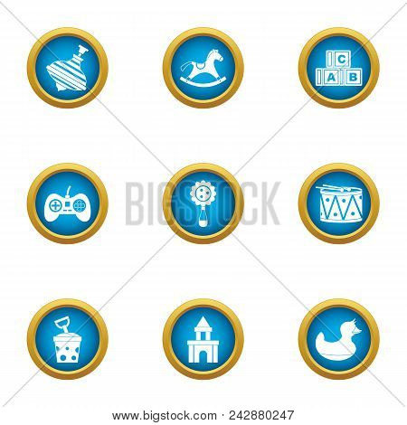 Playing Sequence Icons Set. Flat Set Of 9 Playing Sequence Vector Icons For Web Isolated On White Ba
