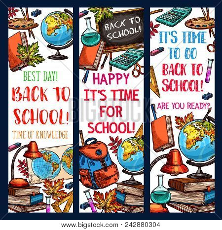 Back To School Time Banners Sketch Design Of School Bag And Lesson Learning Stationery. Vector Schoo