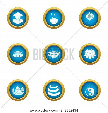 Pan Asian Icons Set. Flat Set Of 9 Pan Asian Vector Icons For Web Isolated On White Background