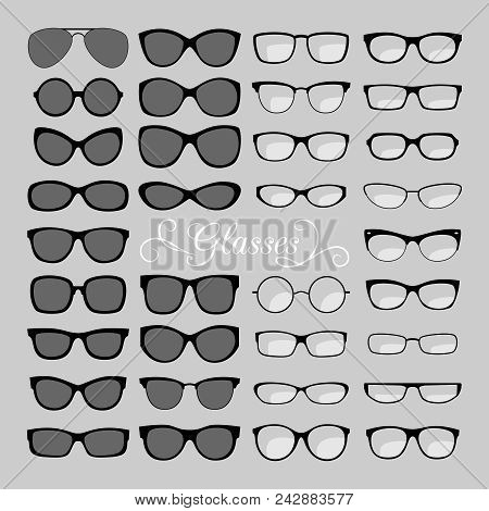 Glasses Set. Black And Fashion, For Men And Women Eyes Glasses, Optical Eyeglasses And Sunglasses Ic