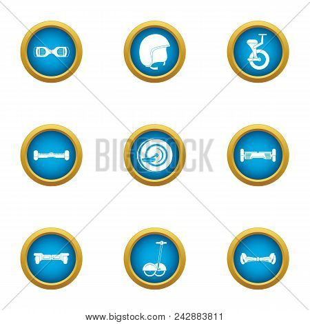 Two Wheeled Icons Set. Flat Set Of 9 Two-wheeled Vector Icons For Web Isolated On White Background