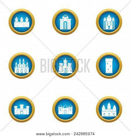 Construction Of Kingdom Icons Set. Flat Set Of 9 Construction Of Kingdom Vector Icons For Web Isolat
