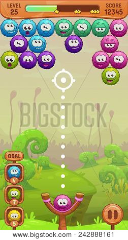 Mobile Bubble Shooter Game Screen. Cartoon User Interface Design. Vector Illustration.