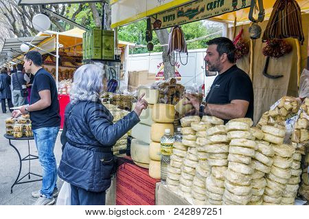 Athens, Attica / Greece - April 20, 2013: Exhibition Of Cretan Products In Zappeion. People Selling