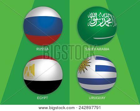 Football World Championship Groups - Russia, Saudi Arabia, Egypt And Uruguay. Banner Design Backgrou