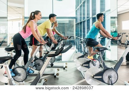 Rear low-angle view of two fit women with an active lifestyle burning calories during indoor cycling class in a modern fitness club