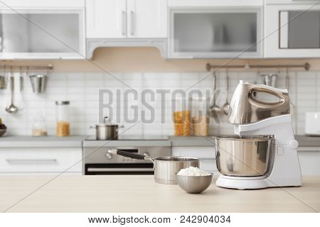 Houseware And Blurred View Of Kitchen Interior On Background
