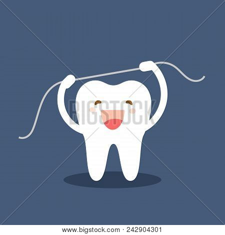Happy Tooth Icon. Cute Tooth Characters. Brushing Teeth Flossing. Dental Personage Vector Illustrati