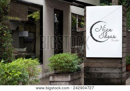 Signage outside a shop mockup
