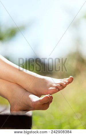 Young Female Barefoot Feets In The Nature, Copyspace