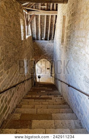 Vougeot, France, May 19, 2018 : Old Stair In Chateau Du Clos De Vougeot. Clos De Vougeot Is The Larg