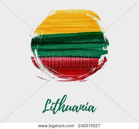 Holiday Background With Abstract Lithuanian Flag In Grunge Round Shape. Template For National Holida