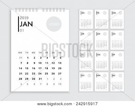 Flip Calendar 2019 Template For 2019 Year. Planner Vector Diary In A Minimalist Style. Corporate And