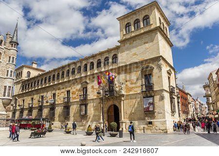 Leon, Spain - April 16, 2018: Historic Building Palacio De Los Guzmanes Palace In Leon, Spain