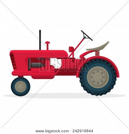 Red Agricultural Tractor On Huge Wheels For Field Works. Rural Machinery For Harvest Collecting. Ind