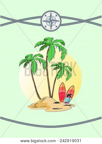 Wild Island With Three Palms, Vector Illustration With Cute Palm Tree Pattern On Surfboard, Intersec
