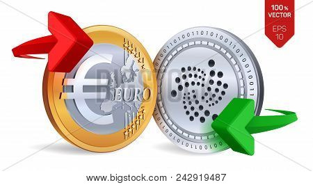 Iota To Euro Currency Exchange. Iota. Euro Coin. Cryptocurrency. Golden And Silver Coins With Iota A