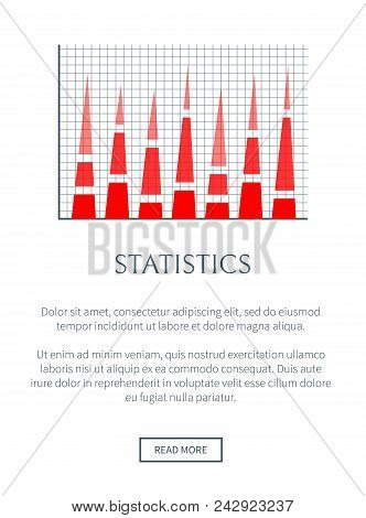 Statistics Web Page And Text Sample And Headline Red Chart With Squared Background Statistics Diagra