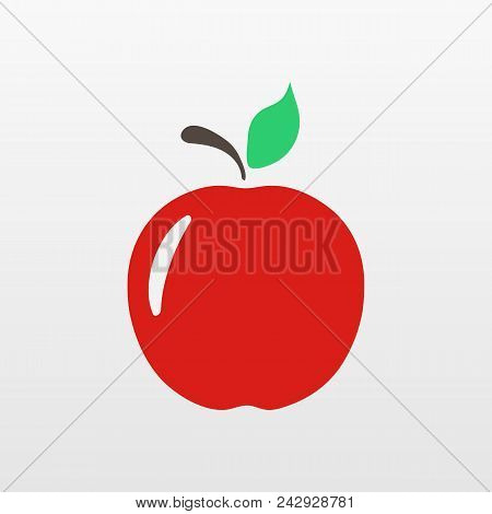 Red Apple  Icon Isolated. Modern Simple Flat Fruit Sign. Natural Food, Internet Concept. Trendy Eco