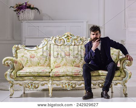 Fashion And Style Concept. Macho Attractive And Elegant On Serious Face And Thoughtful Expression. M