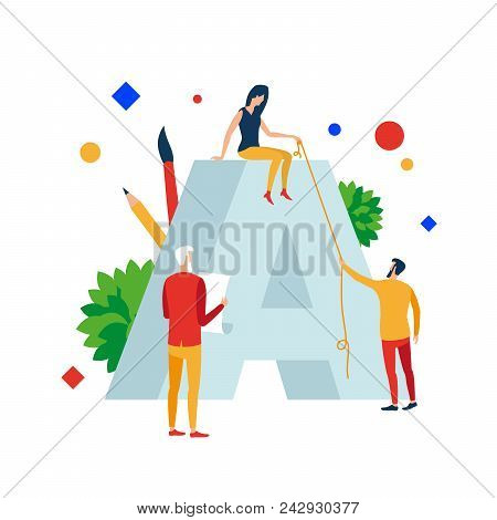 Best Branding Design. A Group Of People Are Working On The Logo. Vector Illustration Branding Design