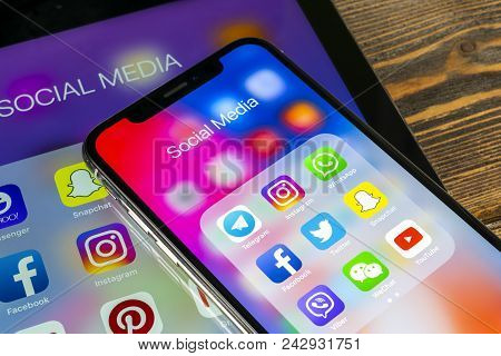 Sankt-petersburg, Russia, May 30 2018: Apple Ipad And Iphone X With Icons Of Social Media Facebook,