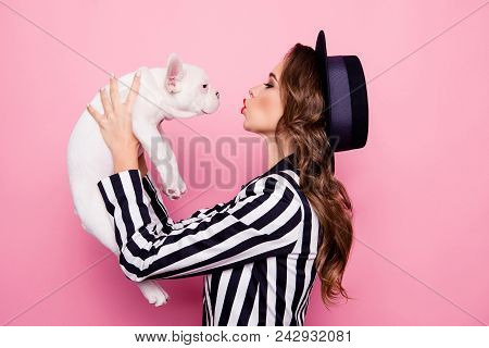 Side View, Half Face, Profile Portrait Of Attractive, Pretty, Charming Girl Raise Dog In Front Of Fa