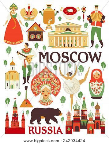 Russia Icons Set. Vector Collection Of Russian Culture And Nature Images, Including St. Basil S Cath