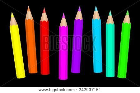 Baby Crayons. Neon Colored Fluorescent Short Pencils Loosely Arranged - Vibrant Vector Illustration