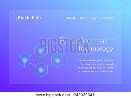 Blockchain Crypto Technology. Blockchain Concept Isometric Vector Illustration. Landing Page Design.