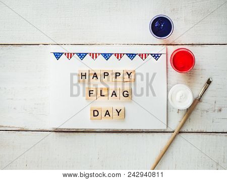 Card With A Pattern Of The Us Flag And Words Of Congratulations On The Us Flag Day On A White, Vinta