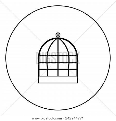 Iron Cage Icon Black Color In Circle Outline Vector Illustration