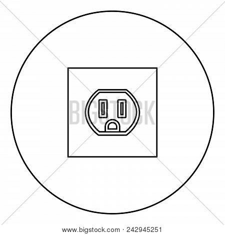 Socket Icon Black Color In Circle Outline Vector Illustration