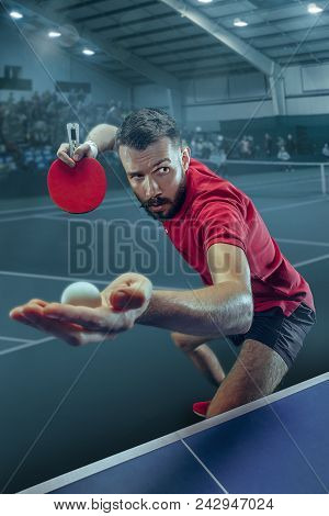 The Table Tennis Player In Motion. Fit Young Sports Man Tennis-player In Play On Sport Arena Backgro