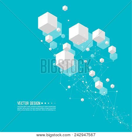 Abstract Background With Transparent Cubes And Hexagonal Frames. Vector Techno Illustration.